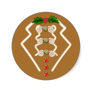Gingerbread Man Tuxedo Round Sticker