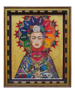 Frida with a White Rose Giclee Print by Luz Maria Lopez