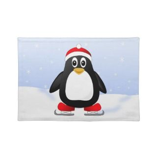 Cute Little Ice Skating Cartoon Penguin Placemats