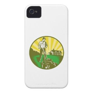 Gardener Mowing Lawn Mower Retro Case Mate iPhone 4 Cases