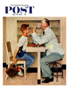 At the Optometrist or Eye Doctor Saturday Evening Post Cover, May 19,1956 Giclee Print by Norman Rockwell