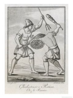 Two Roman Gladiators, One with Net and Trident His Opponent with Club and Shield Giclee Print by Saint sauv