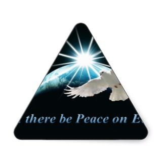 Peace on Earth Dove Holiday Christmas Triangle Sticker