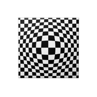 Checkerboard optical illusion tiles