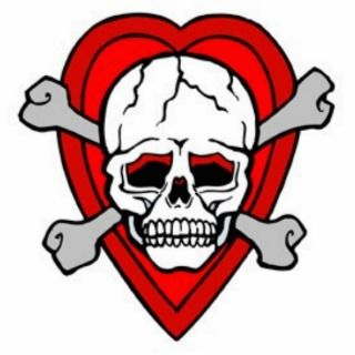 Skull and Crossbones with Heart Tattoo Photo Cut Out