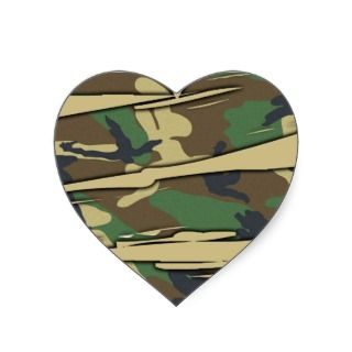 Shredded Camo Heart Heart Stickers