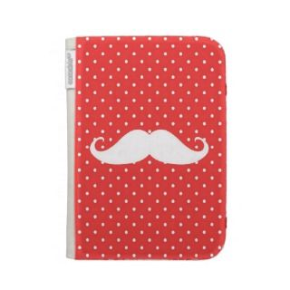 Hipster Girly Pink Cheetah Print And Mustache iPad Folio Cover