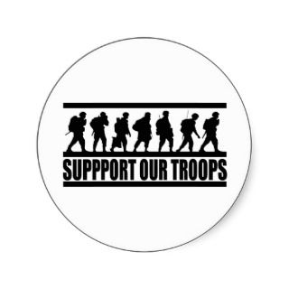 Support Our Troops ~ American Military Patriot Round Sticker