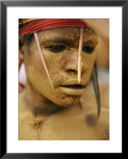 Bright Yellow Face Paint and Elaborate Headdress Decorate the Face of a Tribesman Pre made Frame