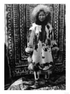 Eskimo Girl Wearing Fur Clothing Alaska Photograph   Alaska Print
