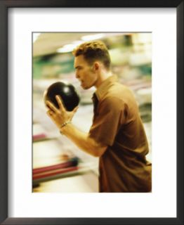 Side Profile of a Young Man Holding a Bowling Ball Pre made Frame