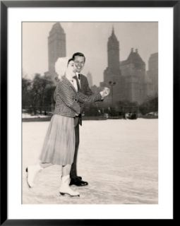 Couple Ice Skating, NYC Pre made Frame