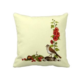 Nature Border in Color Pencil: Bird, Hollyhocks Pillow