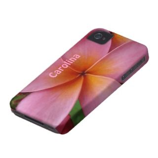 Pink Plumeria Tropical Flower Custom Name Cover iPhone 4 Case Mate