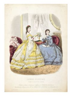 Fashion Plate Showing Ballgowns, Illustration from La Mode Illustree, 1864 Giclee Print