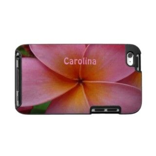Pink Plumeria Tropical Flower Custom Name Cover iPod Touch Cases