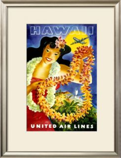 United Airlines, Hawaii Hula Girl Framed Giclee Print