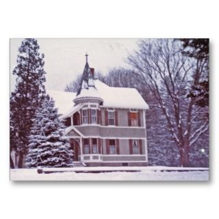 Gift Tags Victorian House at Christmas Business Cards