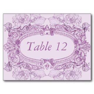 Antique Frame Lilac Table Number Card by starstreamdesign