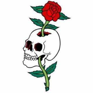 Rose Through Skull Tattoo Cut Outs
