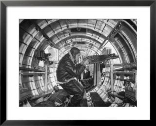 Crewman Poking His 50 Cal. Machine Gun Out of Side Window of B 17E Flying Fortress During WWII Pre made Frame