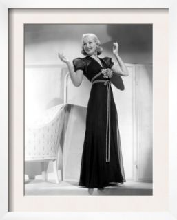 Betty Grable in Black Chiffon Dinner Dress, 1938 Pre made Frame