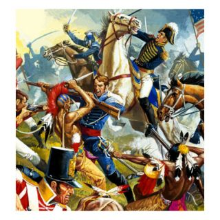 Native American Indians Vs American Soldiers Giclee Print by Severino Baraldi
