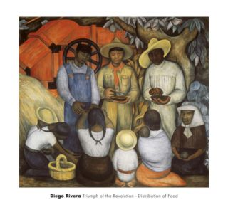 Triumph of the Revolution, Distribution of Food Print by Diego Rivera