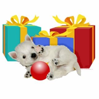 Westie Puppy with Christmas Presents Photo Cut Outs