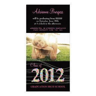 Class of 2012 High School Modern Graduation Invite Photo Card Template