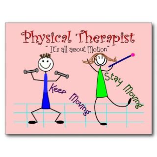 Physical Therapist Stick People Keep Moving Post Card