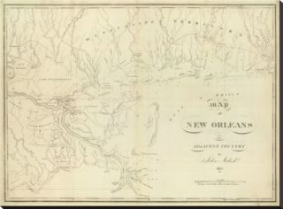 Map of New Orleans and Adjacent Country, c.1824 Stretched Canvas Print