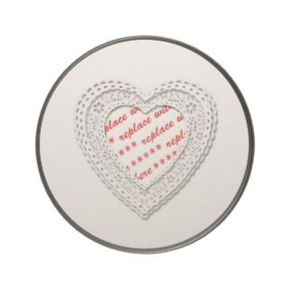 Laced Heart Shaped Photo Frame Template Drink Coaster