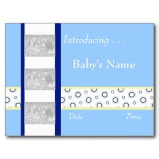 Baby Boy Birth Announcement Template Post Card
