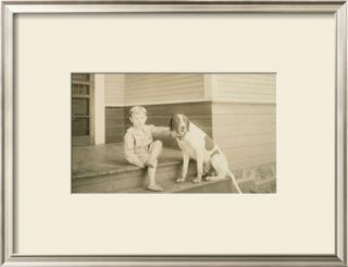 Boy on Porch with Dog Pre made Frame