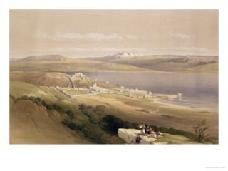 City of Tiberias on the Sea of Galilee, April 22nd 1839, Plate 38 from Volume I of The Holy Land Giclee Print by David Roberts