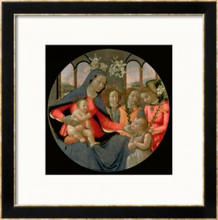 Virgin and Child with St. John the Baptist and the Three Archangels, Raphael, Gabriel and Michael Framed Giclee Print