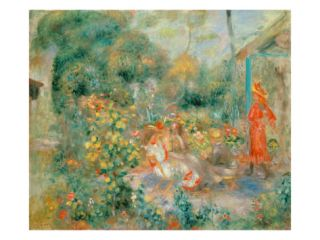 Young Girls in the Garden at Montmartre, 1893 95 Giclee Print by Pierre Auguste Renoir