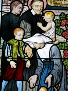 Stained Glass Depicting St. Vincent De Paul, Founder of the Daughters of Charity Congregation Photographic Print by Godong