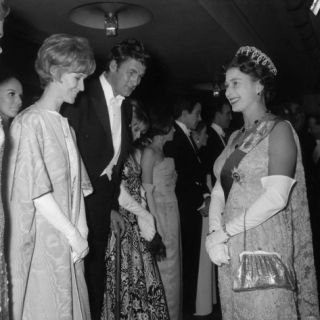 Queen Elizabeth II Meets Actor Bill Travers and Actress Virginia Mckenna at Royal Film Show Photographic Print