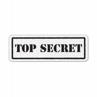 Top secret black stamped label