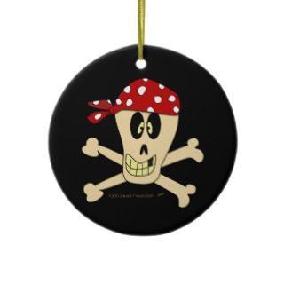 Smiling Pirate Skull and Cross Bones Ornaments