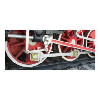 Steam locomotive wheels personalized rack card