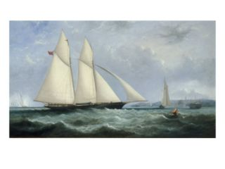 The Schooner Yacht Cambria, 188 Tons, Racing off Ryde, 1868 Giclee Print by Arthur Wellington Fowles