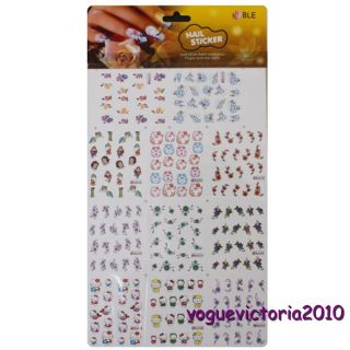 11pcs Hello Kitty & Blumen Nail Stickers Tätowierung