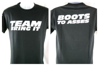 The Rock Team Bring It Boots to Asses T shirt Black New
