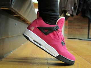 Nike Air Jordan 4 IV GS Voltage Cherry Pink Love Heart 487724 601 Girl