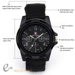 Metallic Black Dial Convex Numbers Gemius Army Warrior Hiking Men
