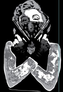 MARILYN MONROE T shirt Tattoo Bandit Tee Guns Bandana Marylin Gang