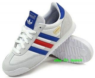 ADIDAS DRAGON Trainers White Blue Red Suede Mesh rom marathon new UK10